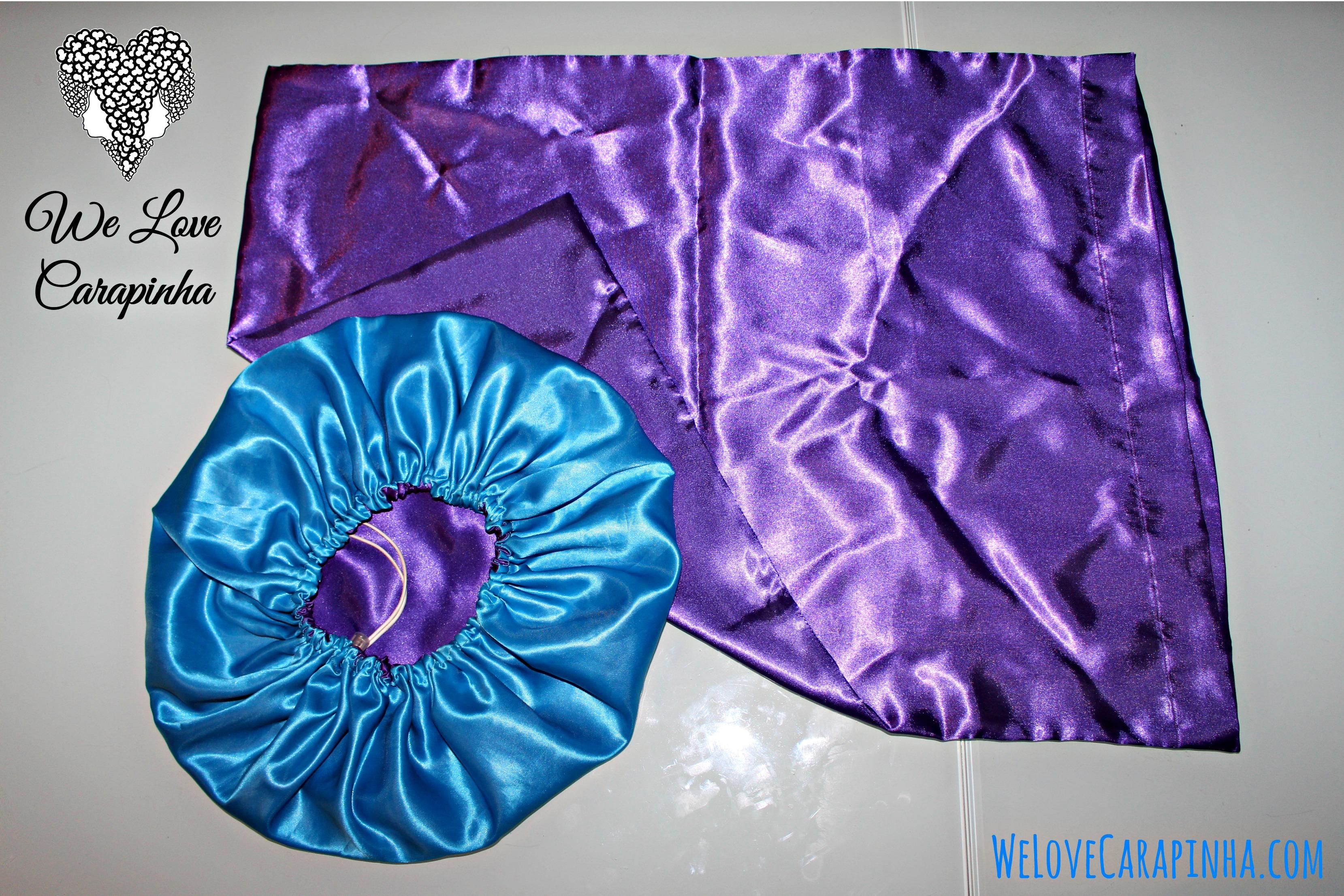 Conjunto Touca Turquesa-Roxa e Fronha Roxa (Modelo Envelope)